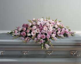 Pinks and lavender casket cover