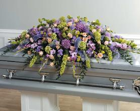 Mixed flowers casket spray