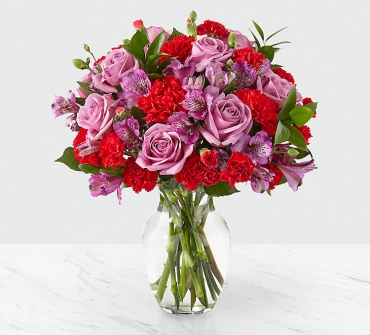 Pastel and red bouquet