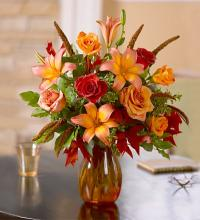 Vase arrangement with fall flowers