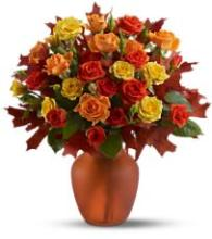 Vase arrangement with fall colors